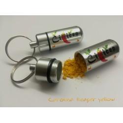 Obesek za ključe, Čiličen kapsula napolnjena s prahom Carolina Reaper Yellow